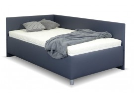 Zvýšená čalouněná postel s úložným prostorem Ryana, 90x200, tmavě šedá