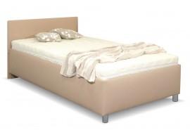 Zvýšená čalouněná postel s úložným prostorem Lyoneta, 90x200, světle hnědá