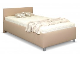 Zvýšená čalouněná postel s úložným prostorem Lyoneta, 140x200, světle hnědá