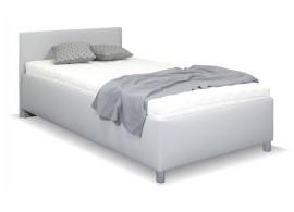 Zvýšená čalouněná postel s úložným prostorem Lyoneta, 90x200, světle šedá