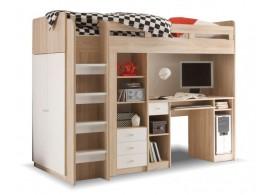 Patrová postel se skříňí, knihovnou a stolem UNITA, dub sonoma/bílá, LEVÁ
