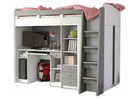 Patrová postel se skříňí, knihovnou a stolem UNITA, šedá/bílá, PRAVÁ