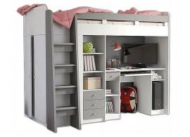 Patrová postel se skříňí, knihovnou a stolem UNITA, šedá/bílá, LEVÁ