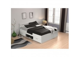 Multifunkční postel s úložným prostorem Michigan 140x200, lamino, bílá