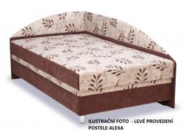 Čalouněná postel s čely a úložným prostorem Alexa, 140x200, BÍLÁ/ŠEDÁ, levá