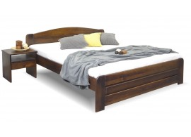 Dřevěná postel dvoulůžko LADA, masiv borovice, moření ořech, 180x200