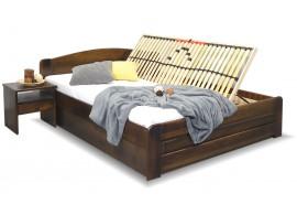 Dřevěná postel LADA, s úložným prostorem, masiv borovice, moření ořech