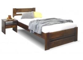Dřevěná postel jednolůžko Hanka, masiv borovice, moření ořech