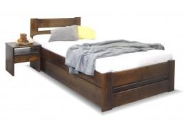 Dřevěná postel s úložným prostorem Hanka, masiv borovice, moření ořech