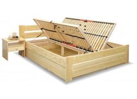 Dřevěná postel Hanka, s úložným prostorem, masiv borovice