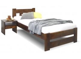 Dřevěná postel jednolůžko Barča, masiv borovice, moření ořech