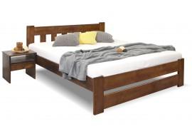 Dřevěná postel dvoulůžko Barča, masiv borovice, moření ořech