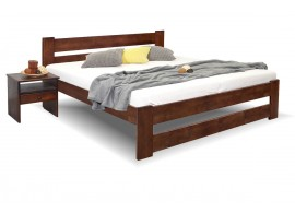 Dřevěná postel dvoulůžko Hanka New, masiv borovice, moření ořech