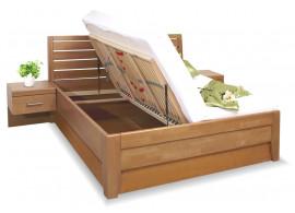 Zvýšená postel s úložným prostorem CONCEPTA 1, masiv buk, 140x200