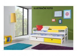 Dětská postel s přistýlkou a úložným prostorem NATY1, MASIV BOROVICE/ORANŽOVÁ