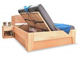 Dřevěná postel s úložným prostorem Kleopatra 1, 160x200, 180x200, masiv buk