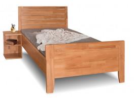 Zvýšená postel z masivu Erin 1A- vysoké přední čelo, 90x200, masiv buk