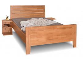 Zvýšená postel z masivu Erin 1A- vysoké přední čelo, masiv buk, 140x200