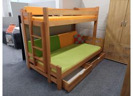 Dětská patrová postel s úložným prostorem BENI, masiv borovice, VÝPRODEJ Z EXPOZICE