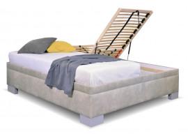 Zvýšená čalouněná postel s úložným prostorem Litera