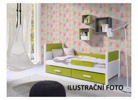 Dětská postel s úložným prostorem Lora, masiv borovice, MOŘENÍ DUB / BÍLÁ