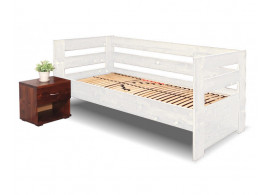 Zvýšená postel Valentin - vysoká čela, 90x200 cm, masiv smrk, bílá