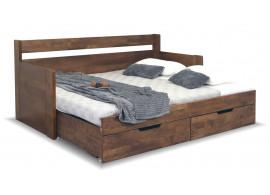 Rozkládací postel s úložným prostorem a područkami Gabriel, masiv buk