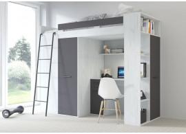 Multifunkční patrová postel Vera - Levá, lamino craft bílý grafit