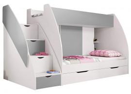 Dětská poschoďová postel Montana, lamino, šedo-bílá