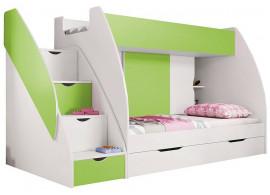 Dětská poschoďová postel Montana, lamino, zeleno-bílá