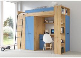 Patrová postel Vera - Levá, lamino dub artisan modrá