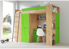 Patrová postel Vera - Levá, lamino dub artisan zelená