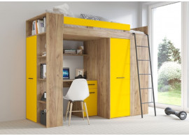Patrová postel Vera - Pravá, lamino dub artisan žlutá