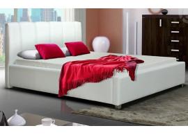 Čalouněná postel s úložným prostorem CS35008, bílá ekokůže, 180x200 cm