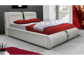 Čalouněná postel s úložným prostorem CS35013, 180x200 cm, bílá ekokůže