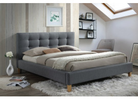 Čalouněná postel CS11723, šedá látka, 140x200 cm