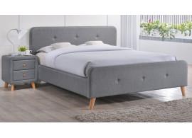 Čalouněná postel CS11472, šedá látka, 140x200 cm