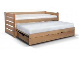 Rozkládací postel s úložným prostorem Doublemax, masiv buk