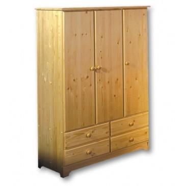 Třídveřová šatní skříň Natali 125, masiv smrk