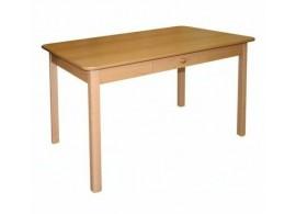 Jídelní stůl se zásuvkou Miloš, masiv/lamino, 110x70 cm