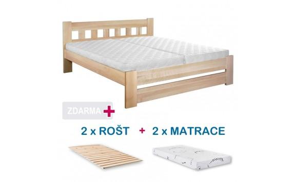 Manželská postel BARA s roštem a matrací ZDARMA 180x200, masiv buk