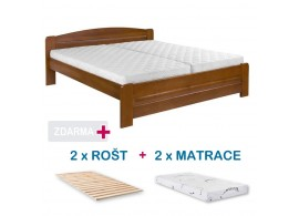 Manželská postel LADA s roštem a matrací ZDARMA 180x200, masiv buk, ořech