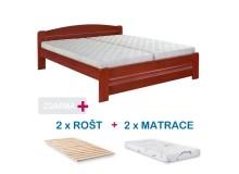 Manželská postel LADA s roštem a matrací ZDARMA 180x200, masiv buk, třešeň