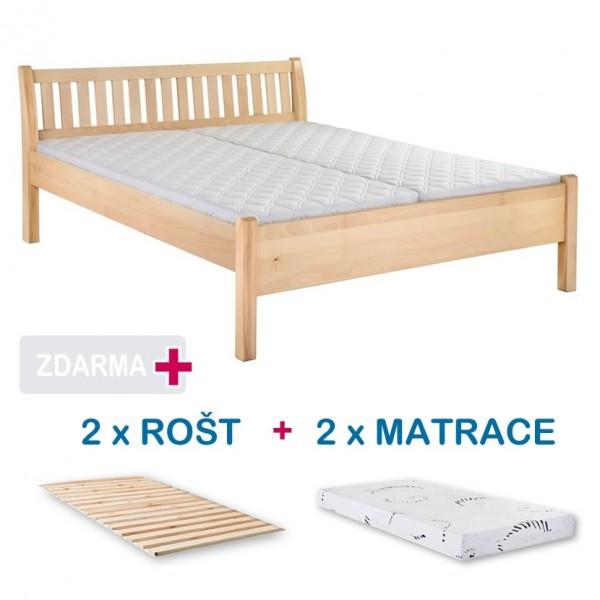 Manželská postel MILOŠ s roštem a matrací ZDARMA 180x200, masiv buk