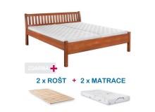 Manželská postel MILOŠ s roštem a matrací ZDARMA 180x200, masiv buk, ořech
