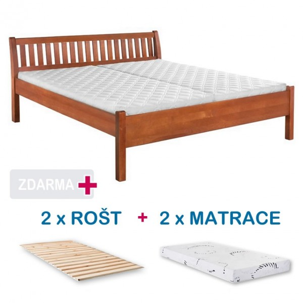 05ddd04aa61f Manželská postel MILOŠ s roštem a matrací ZDARMA 180x200