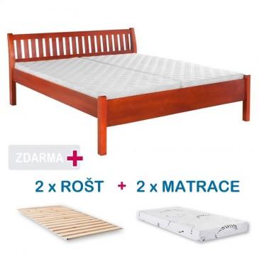 Manželská postel MILOŠ s roštem a matrací ZDARMA 180x200, masiv buk, třešeň