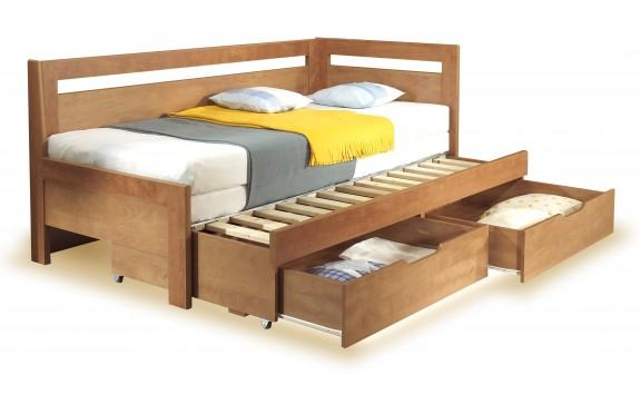 Rozkládací postel s úložným prostorem TANDEM KLASIK pravá, 90x200