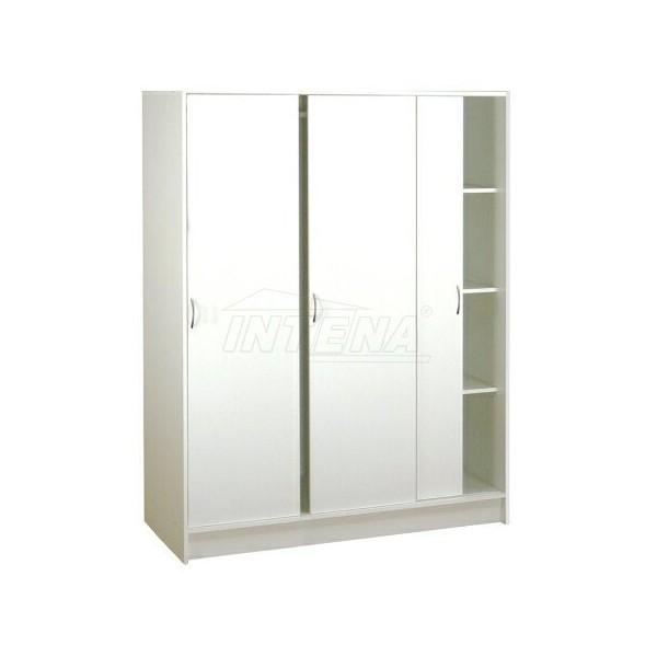 Šatní skříň třídílná s posuvnými dveřmi IA3323B - lamino bílá