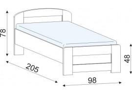 Dětská postel - jednolůžko KAP-LOZ/90 , dub-růžová